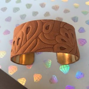Jewelry - Caramel Textured Leather Wide Cuff Bracelet